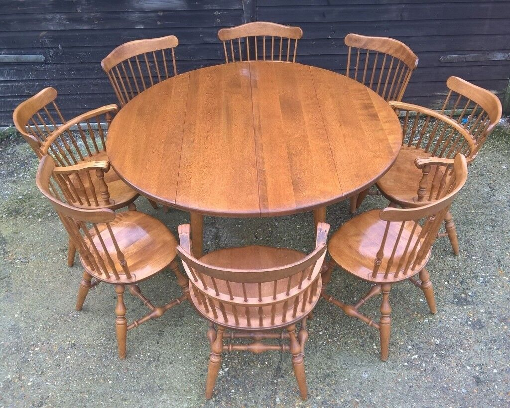 Free Delivery Stunning Vintage Maple Drop Leaf Round Dining Table Eight Chairs