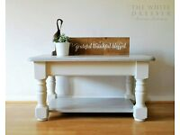 Coffee Table Solid Pine - Chunky Farmhouse Style - Hand Painted & Varnished