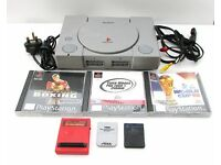 Sony Playstation 1 PS1 console leads, 2 x memory cards, equalizer & 3 x games VGC - No controller