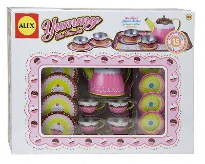 Alex Tin Tea Set (NEW ALEX 15 PIECE YUMMY CUPCAKE TIN TEA SET PLAYSET AGES)