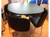 Hygena Amparo dining table & 4 chairs -black colour