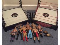 WWE 2 rings, 8 figures and two figure belts