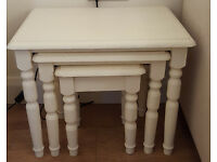 Set of 3 Small Cream Nesting Tables