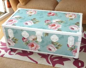 Restored Flat Top Large Decorated Travel Trunk Chest Suitcase Vintage Floral Shabby Chic