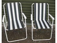 2x Green & White Folding Garden Chairs