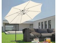 3.5m cantilever parasol with hand crank garden umbrella sun shade cream