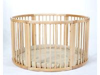 Solid wood baby playpen