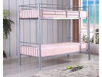 BRAND NEW *** SINGLE WHITE METAL BUNK BED THAT SPLITS INTO 2 SINGLE BEDS