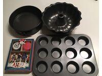 Baking Set: Fluted Ring Cake Tin + Muffin/Cupcake Tin + 2x Springform Cake Tins (Used)