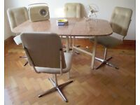 VINTAGE RETRO 1960's/70's DINING SET, DROP LEAF TABLE & 4 SWIVEL CHAIRS.