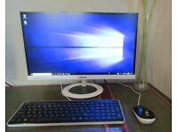 "HP 550-290NA DESKTOP PC Windows 10 Computer& ASUS Wide White 23"" White Monitor"