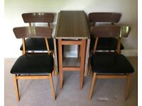 Mid Century Kitsch Drop Leaf Formica Top Table & 4 Matching Kitchen Chairs