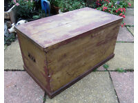 Large VINTAGE PINE TRUNK 94x50x50cm wood storage chest blanket box coffee table