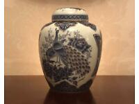 A beautiful vintage Japanese lidded Decorative Ginger Jar featuring Peacocks - 15.5cm's Tall