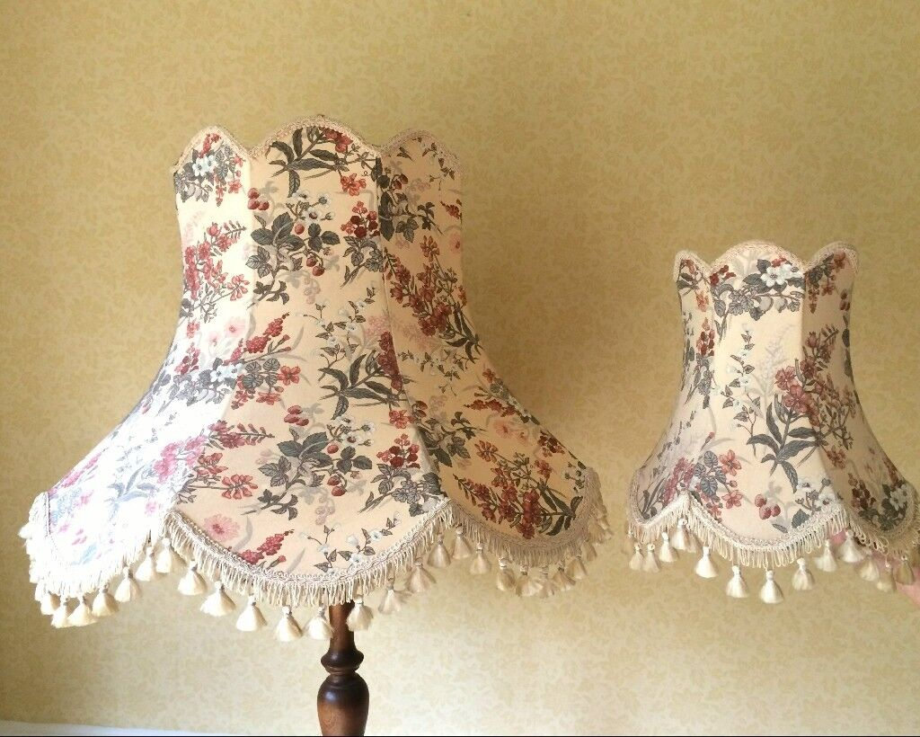 Lamp shades, cream floral, large & small