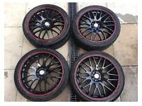 Calibre 17 Inch Alloy Wheels And Tyres 4x100/4x114.3Black/red