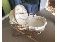 Baby moses basket with stand neutral colour