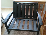 Large Single FUTON, Black wooden frame with red mattress