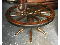 Wagon wheel coffee table / side table in oak