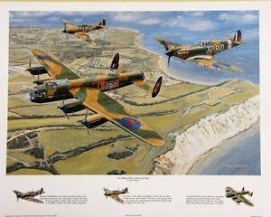 BEAUTIFUL PRINT PICTURE PAINTING OF BATTLE OF BRITAIN MEMORIAL FLIGHT