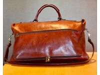 ITALIAN LEATHER Dark Tan Weekend Large Shoulderbag