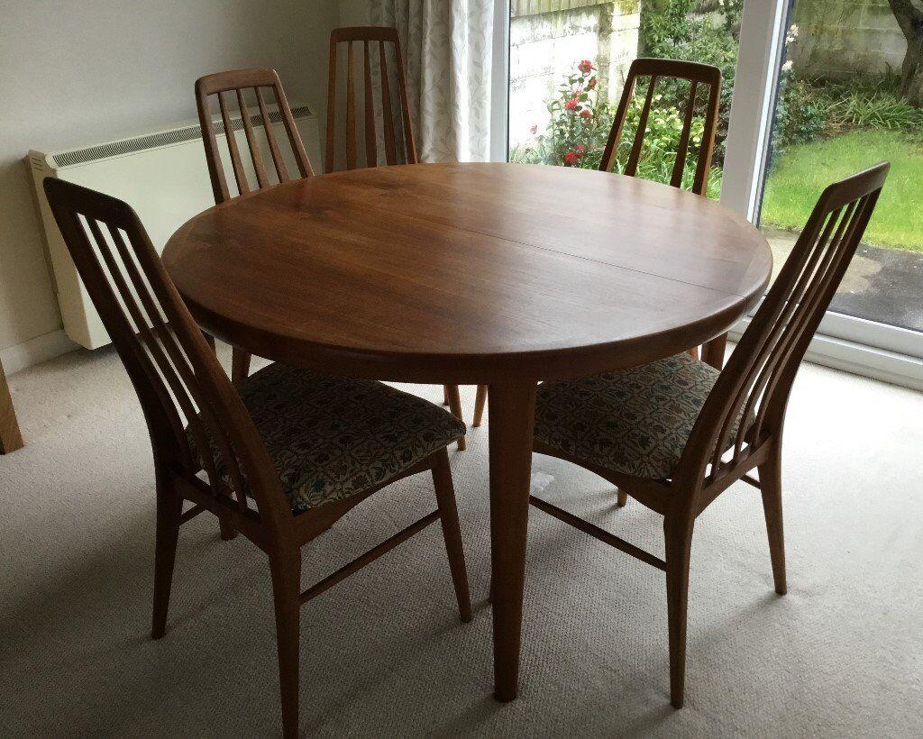 Koefoeds Hornslet Danish Teak Circular, Extending Dining Room Table And 5  Chairs