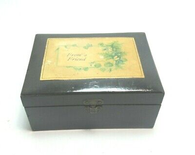 ANTIQUE BLACK MAUCHLINE TRANSFER WARE BOX FROM A FRIEND NICE GIFT BOX