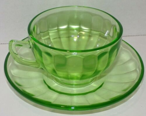 Federal Hostess Green Vaseline Uranium Depression Glass Coffee Tea Cup Saucer