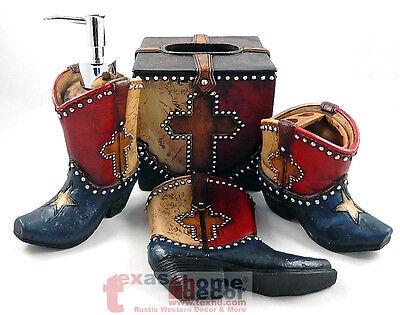 Rustic Texas Flag Boot Star Cross Bathroom Accessory Set 4 Pieces Silver Studs Cross Lav Set