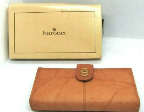 Vintage 60s 5th Ave Baronet Leather Wallet Brown Kiss Lock Coin Section Flaw NIB