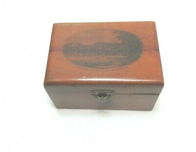 ANTIQUE MAUCHLINE SMALL WOODEN TRINKET BOX BOWNESS FROM BELLE ISLE WINDERMERE