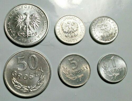 POLAND, UNCIRCULATED COIN TRIO, 1 TO 50 GROSZY, 1949-86
