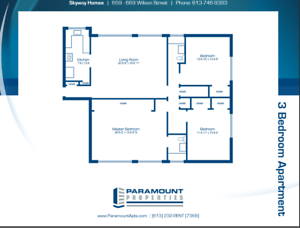 Large 3 Bedroom Apartment for  $1199.00 + Hydro- DEC 1st!