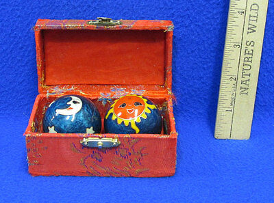 Chinese Stress Balls Dark Blue Sun & Cloud Moon & Star Design Red In Fabric Box - Star Stress Ball