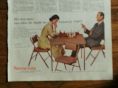 Card Table, Samsonite, Chess Game, Vintage Sat Evening Post Magazine Ad. #2067
