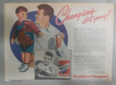 """Wheaties Cereal Ad: Cleveland Indians  """"Gene Bearden"""" from 1940's 7 x 10 inches"""