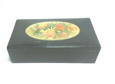 ANTIQUE MAUCHLINE BLACK TRANSFER WARE BOX FLORAL
