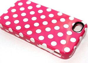 iPHONE 4 4G 4S - HARD & SOFT RUBBER DUAL HYBRID ARMOR CASE HOT PINK POLKA DOTS