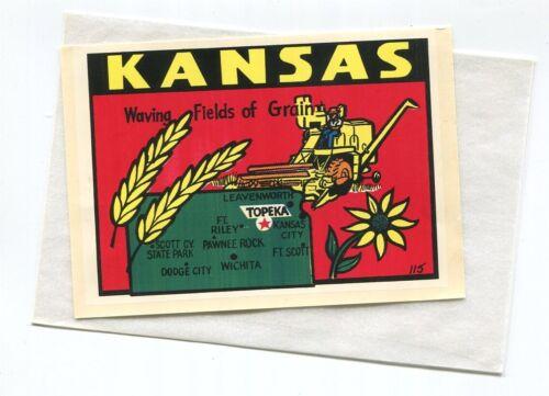 KANSAS  Waving Fields of Grain vintage unused travel decal #115 Baxter Lane f/s