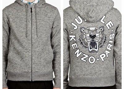 Nwt Kenzo Tiger Head Hooded Zip Sweatshirt Grey Hoodie