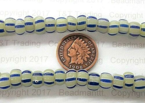 AAA+ RAre  Antique Venetian Crow Blue Striped Greasy Trade Beads  { 50 }  # 310