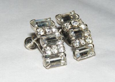 Vintage Silver Tone & Clear Rhinestone Screw Back Earrings V4 Clear Rhinestone Screw Back Earrings