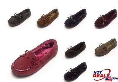 New Moccasins Women Slip On Indoor-Outdoor Shoe Slipper Fur Loafer 5 to 10 Size