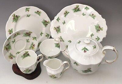 Royal Albert Highland Thistle Set Tea Pot, Cups & Saucers, Dessert Cake Plates, - Tea Pot Cake