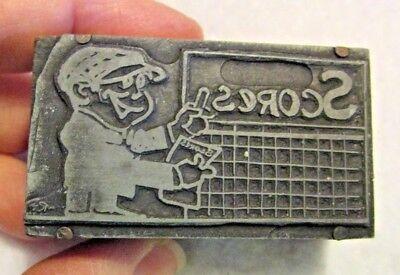 Vintage Lead Wood Printing Block Man With Score Board Cartoon