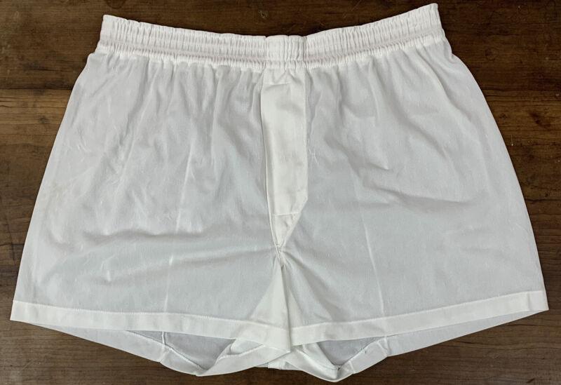 Vtg Jockey Mens Boxer Shorts Sheer Nylon Tricot Fly Underwear USA White Size 32