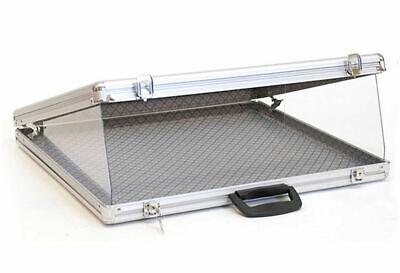 Locking Large Aluminum Glass-top Display Case 34 W X 22 D X 3 H