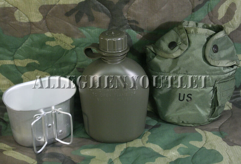 US Military 3 Piece 1 Qt Canteen Kit w/ USGI OD Cover & Army Type Aluminum Cup