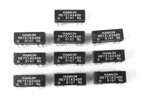 Qty. 10 NOS Hamlin /Littelfuse HE721A2400 24VDC SPST NO DIP Reed Relays. RL