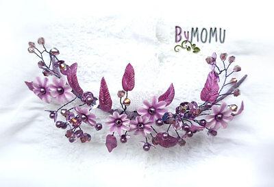 Tocado boda Diadema para Novia Flores de Porcelana Lilas hecho a mano